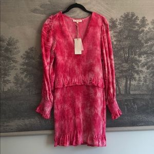 LoveShackFancy Hot Pink Velour Mini Dress Size L